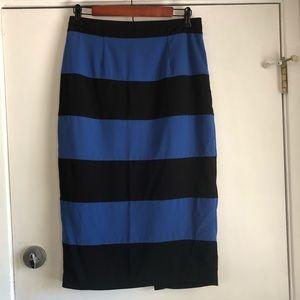 NWT Forever 21 Blue/Black Knee Length Skirt Size L